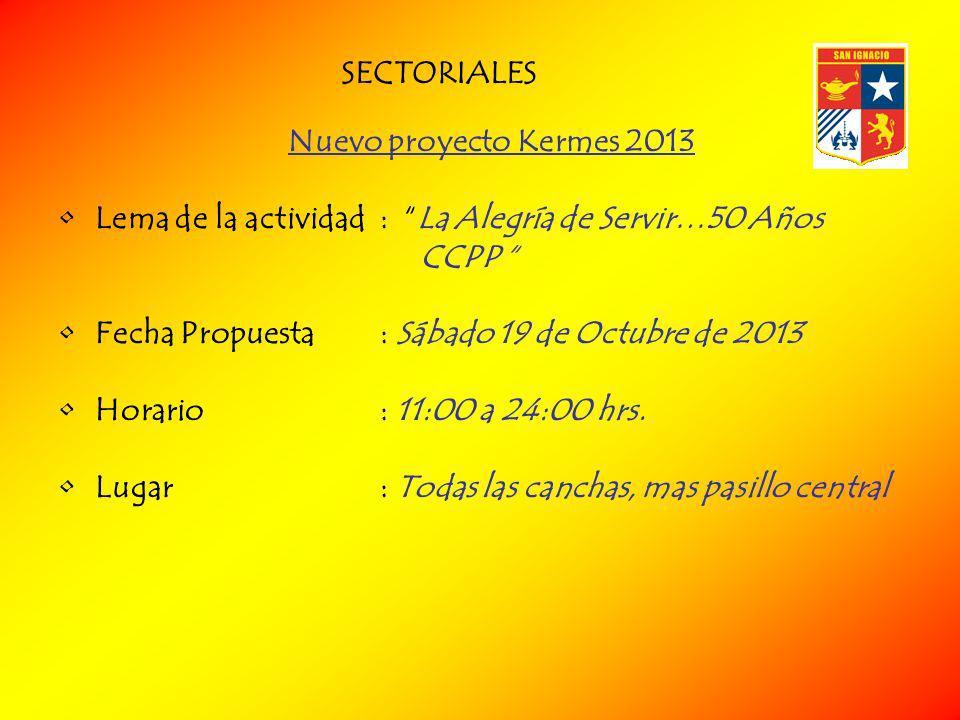 SECTORIALES Nuevo proyecto Kermes 2013. Lema de la actividad : La Alegría de Servir…50 Años CCPP