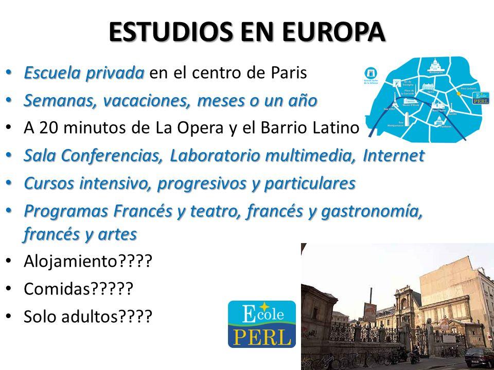 ESTUDIOS EN EUROPA Escuela privada en el centro de Paris