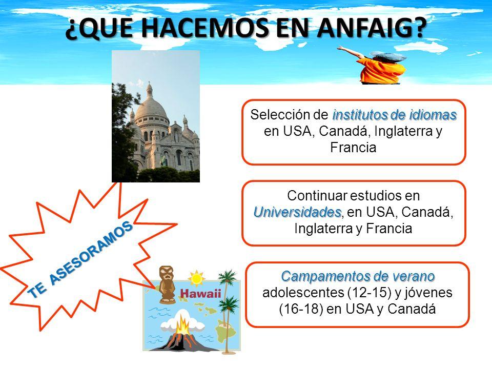 ¿QUE HACEMOS EN ANFAIG Selección de institutos de idiomas en USA, Canadá, Inglaterra y Francia.