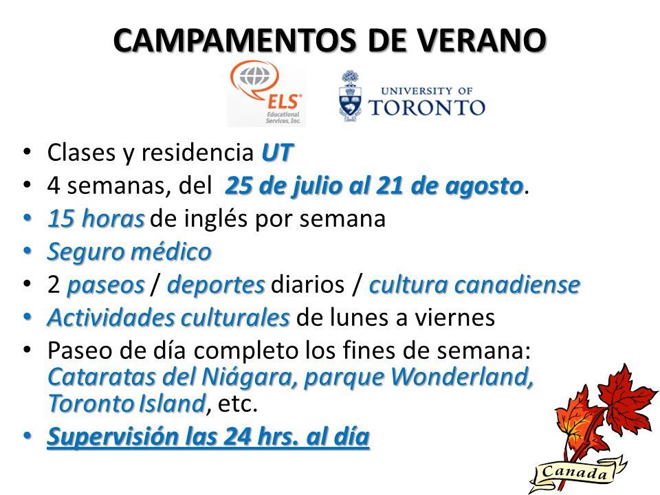 CAMPAMENTOS DE VERANO Clases y residencia UT