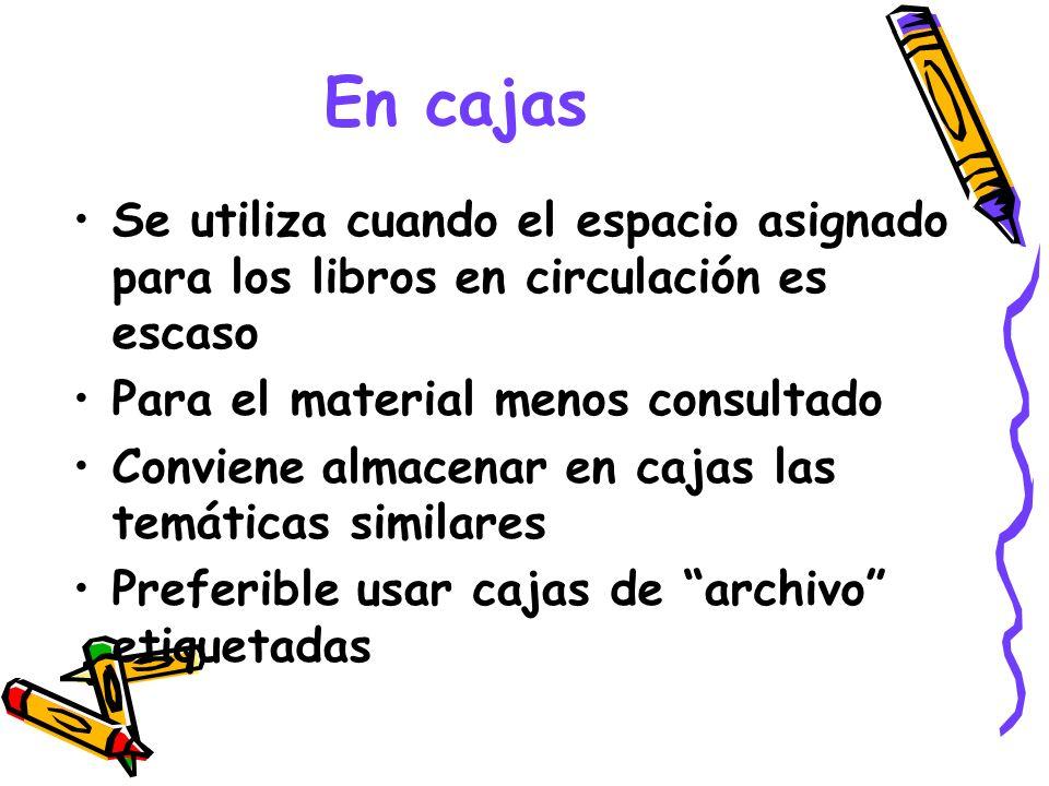 En cajasSe utiliza cuando el espacio asignado para los libros en circulación es escaso. Para el material menos consultado.