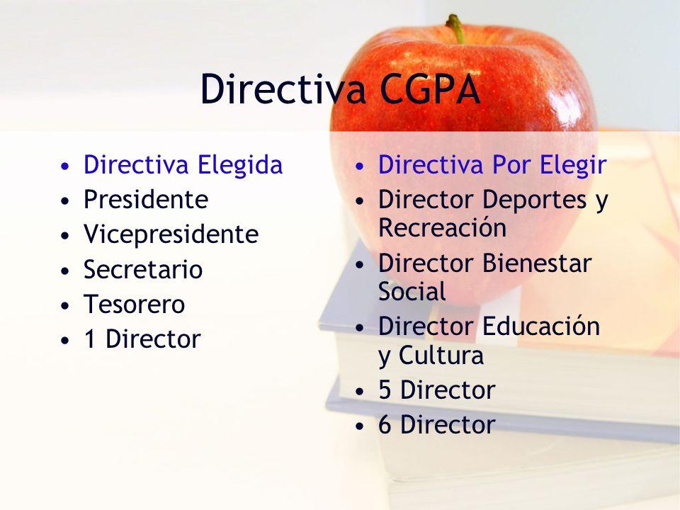 Directiva CGPA Directiva Elegida Presidente Vicepresidente Secretario