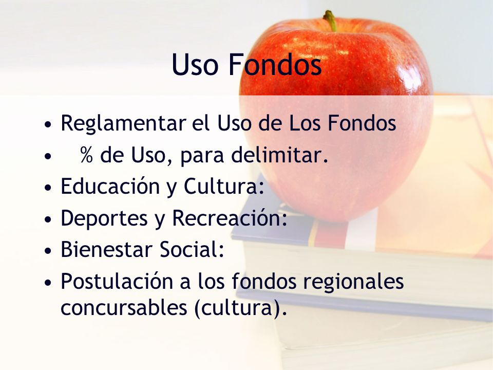 Uso Fondos Reglamentar el Uso de Los Fondos % de Uso, para delimitar.