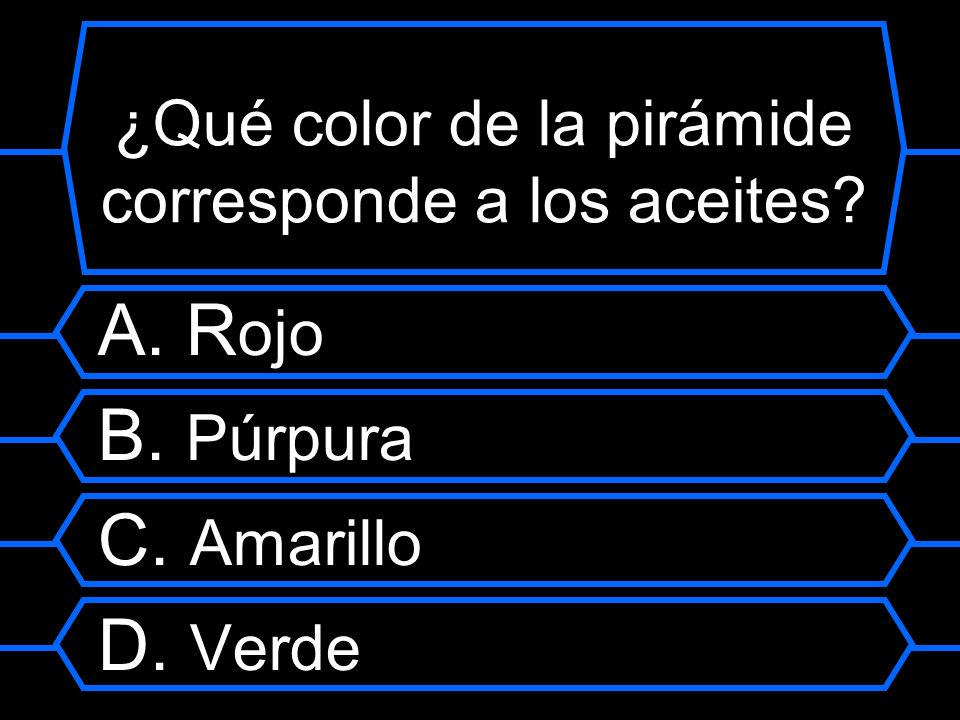 ¿Qué color de la pirámide corresponde a los aceites