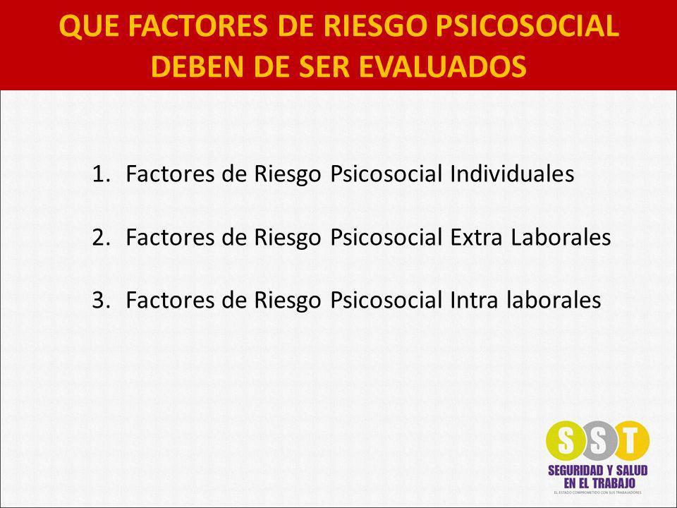 QUE FACTORES DE RIESGO PSICOSOCIAL DEBEN DE SER EVALUADOS