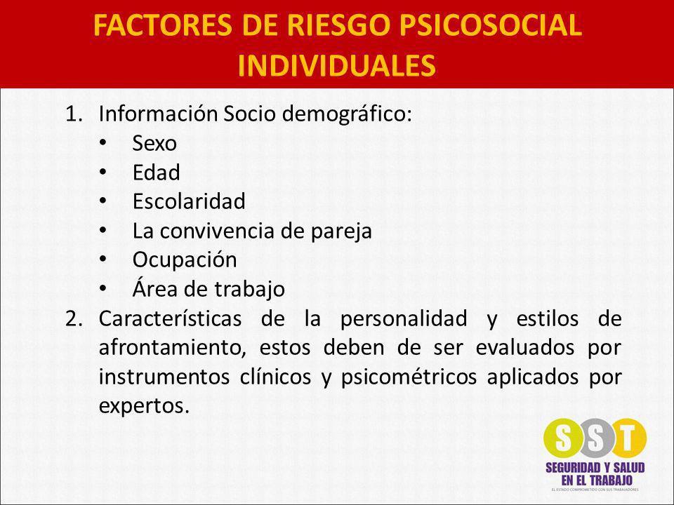 FACTORES DE RIESGO PSICOSOCIAL INDIVIDUALES
