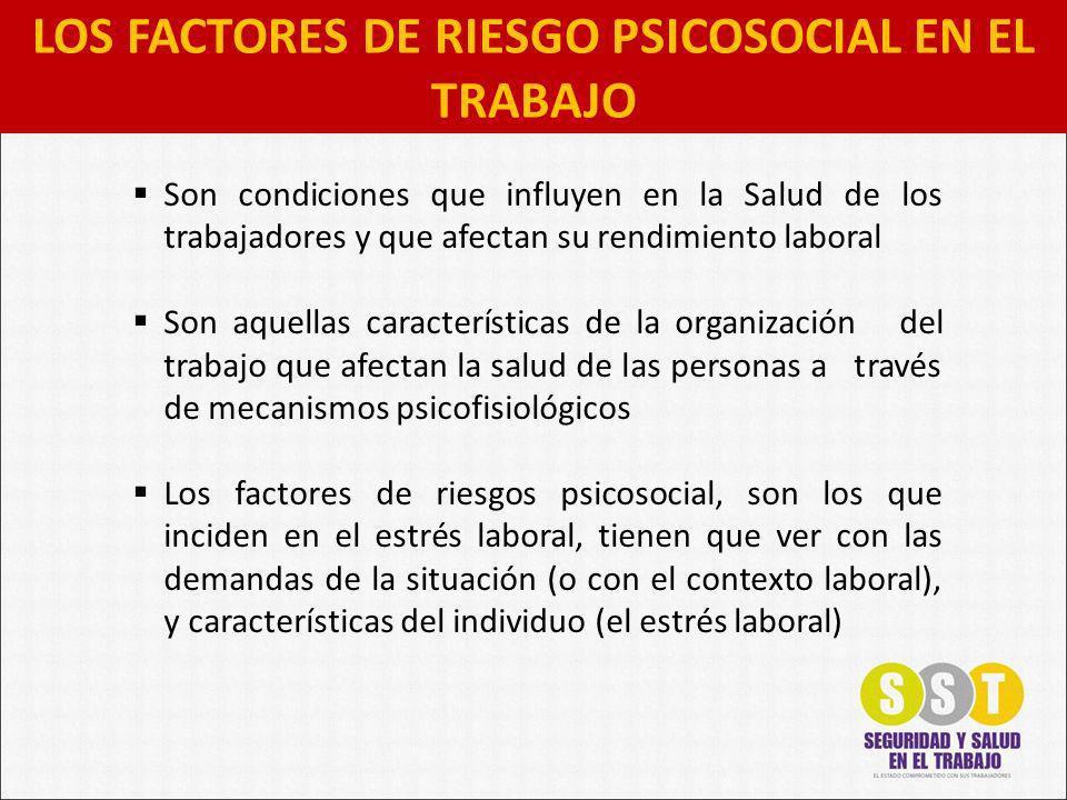 LOS FACTORES DE RIESGO PSICOSOCIAL EN EL TRABAJO