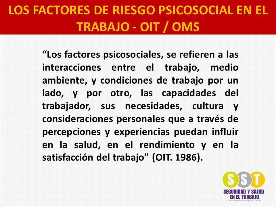 LOS FACTORES DE RIESGO PSICOSOCIAL EN EL TRABAJO - OIT / OMS