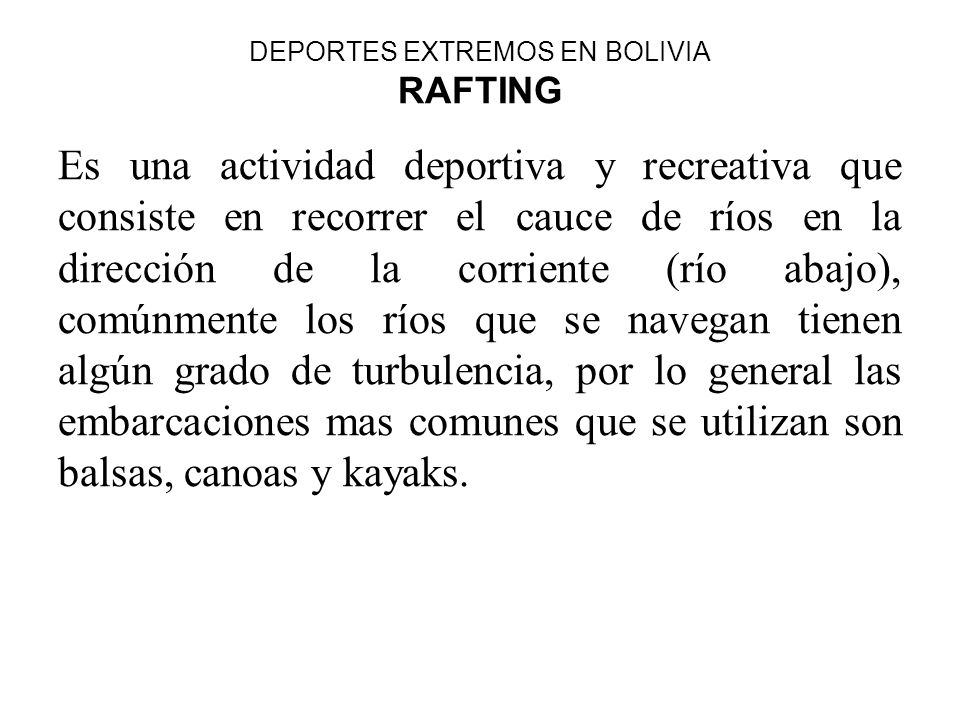 DEPORTES EXTREMOS EN BOLIVIA RAFTING