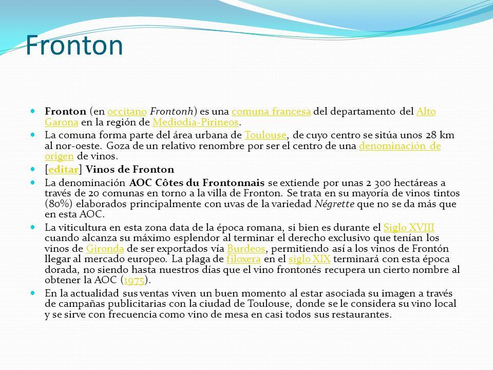 Fronton Fronton (en occitano Frontonh) es una comuna francesa del departamento del Alto Garona en la región de Mediodía-Pirineos.