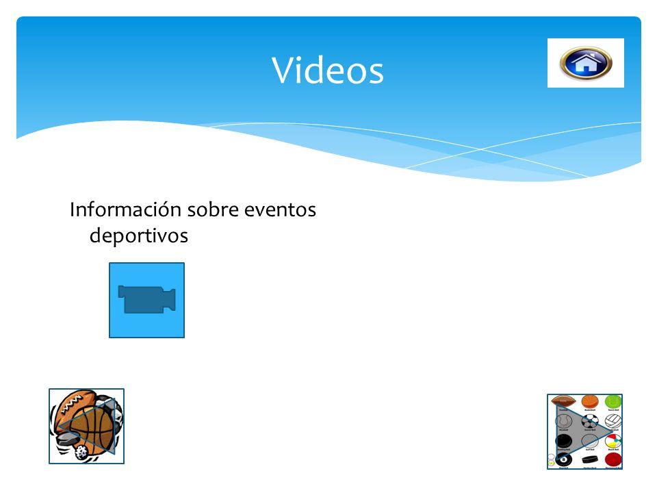 Videos Información sobre eventos deportivos