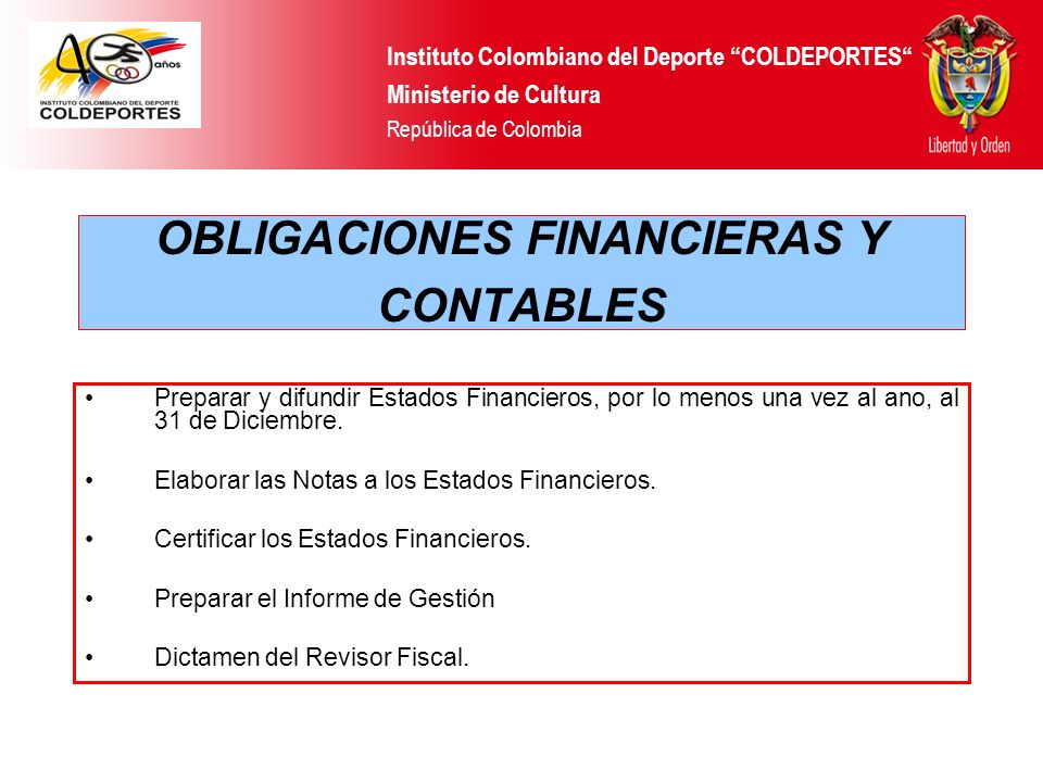 OBLIGACIONES FINANCIERAS Y CONTABLES