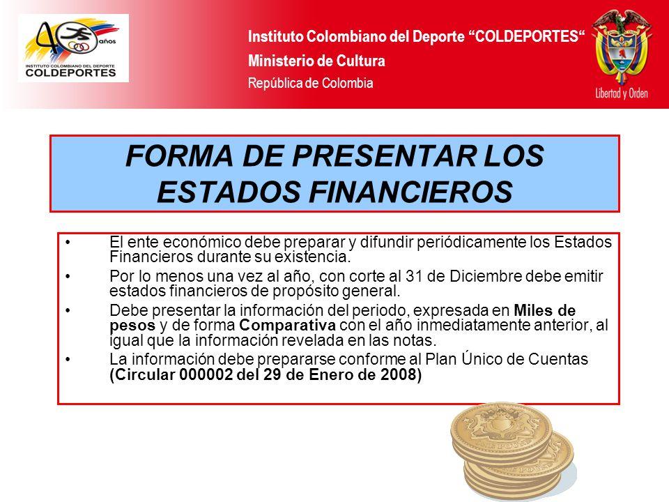 FORMA DE PRESENTAR LOS ESTADOS FINANCIEROS