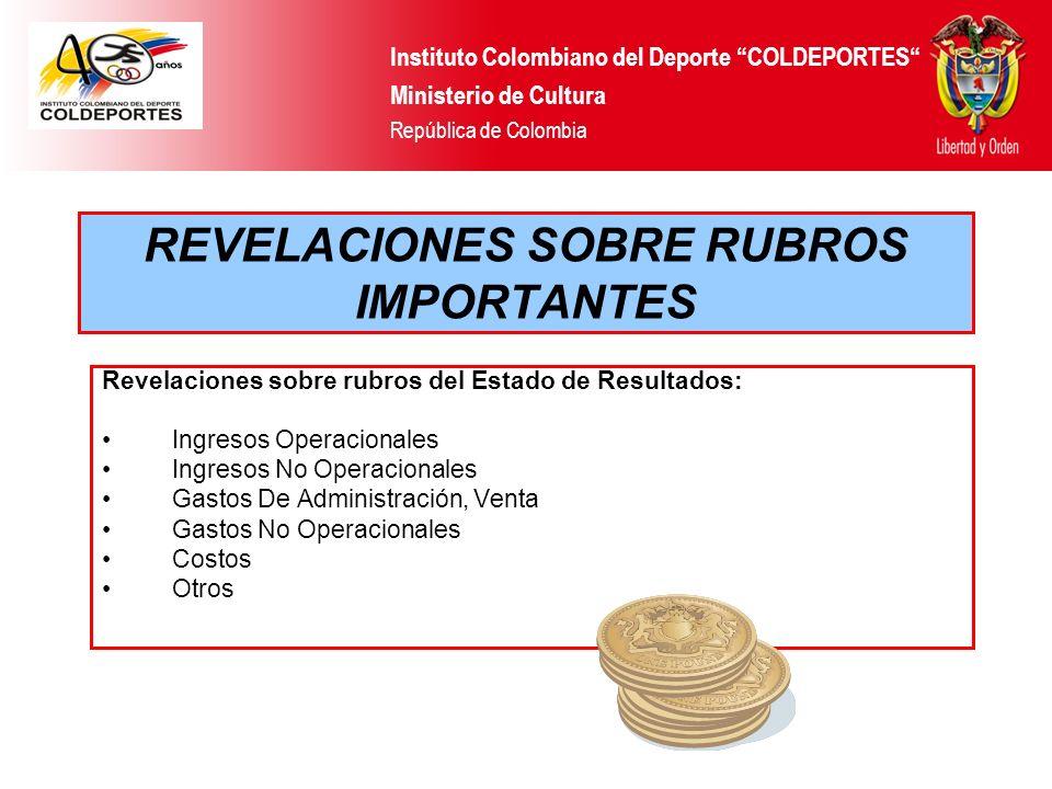 REVELACIONES SOBRE RUBROS IMPORTANTES