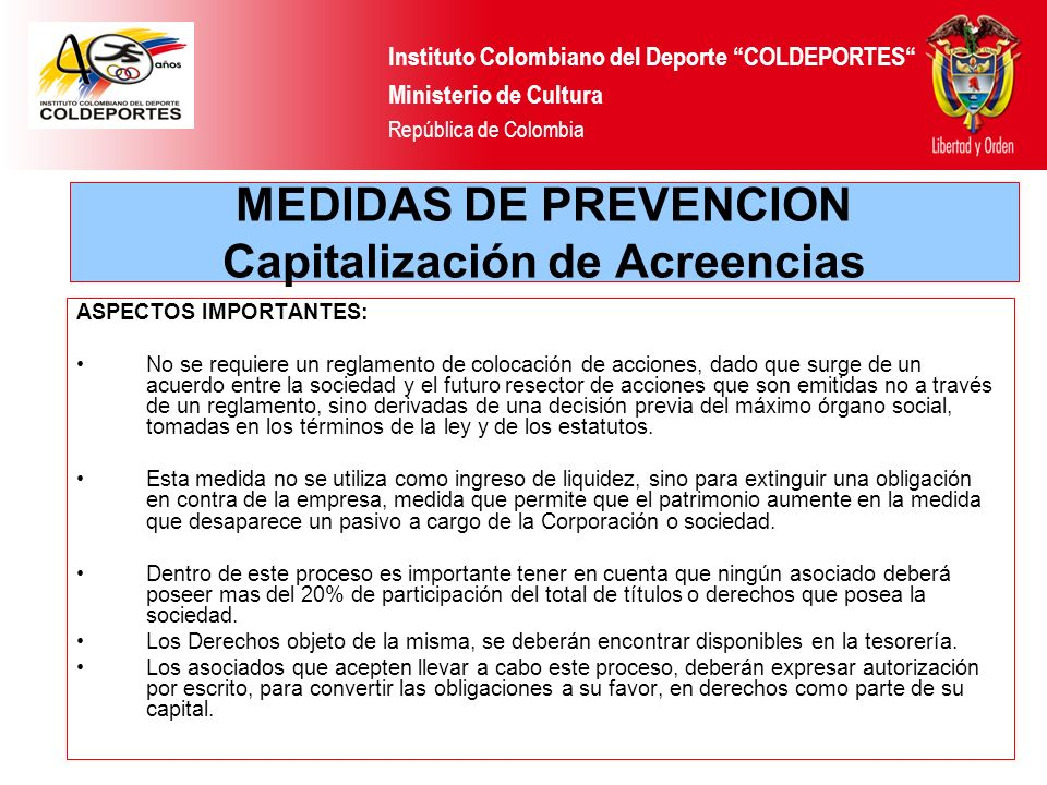 MEDIDAS DE PREVENCION Capitalización de Acreencias