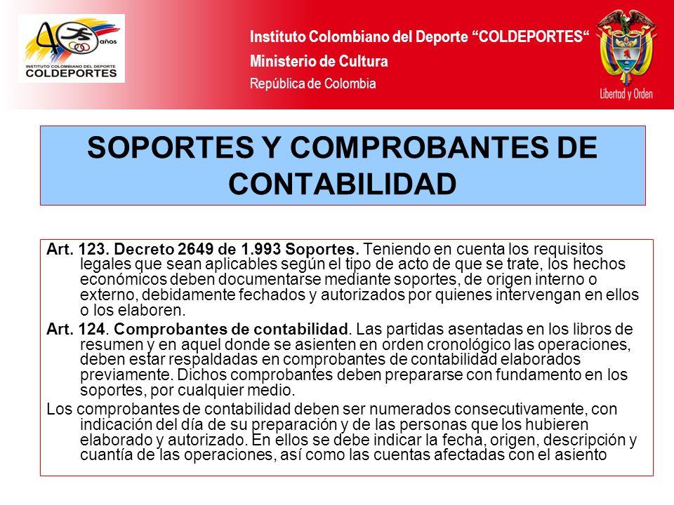 SOPORTES Y COMPROBANTES DE CONTABILIDAD