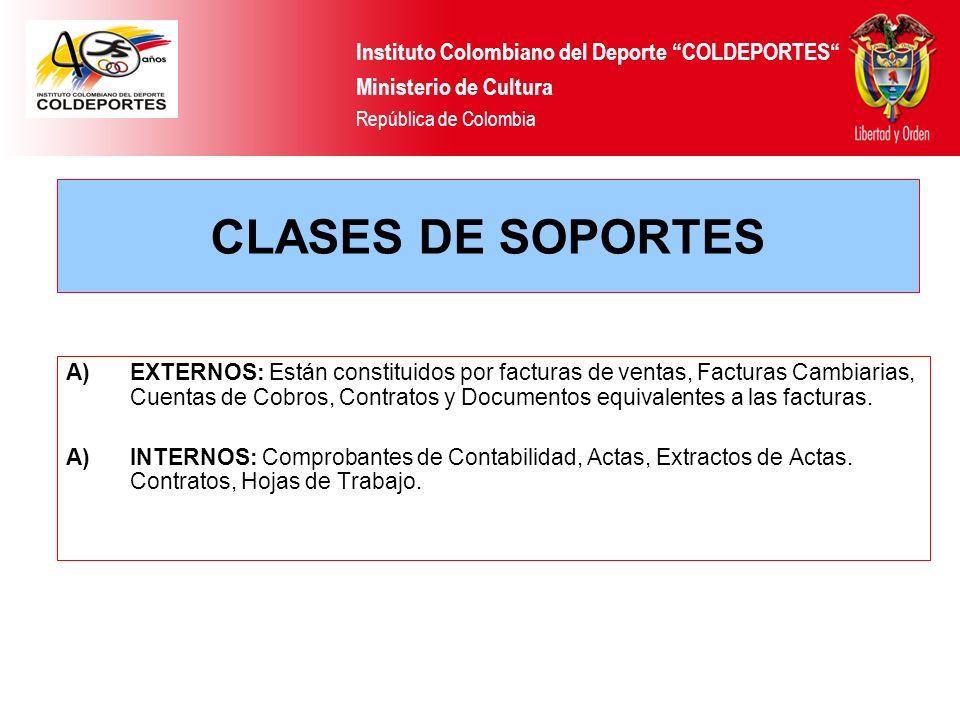 CLASES DE SOPORTES Instituto Colombiano del Deporte COLDEPORTES