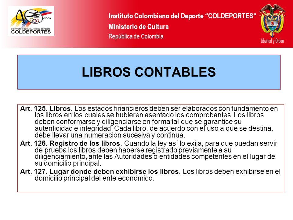 LIBROS CONTABLES Instituto Colombiano del Deporte COLDEPORTES