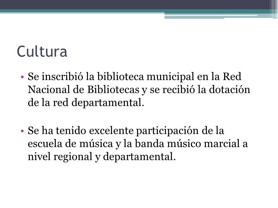 Cultura Se inscribió la biblioteca municipal en la Red Nacional de Bibliotecas y se recibió la dotación de la red departamental.