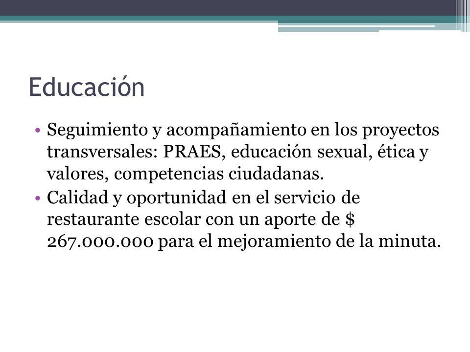 Educación Seguimiento y acompañamiento en los proyectos transversales: PRAES, educación sexual, ética y valores, competencias ciudadanas.