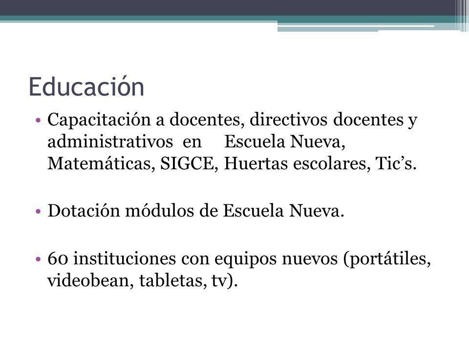 Educación Capacitación a docentes, directivos docentes y administrativos en Escuela Nueva, Matemáticas, SIGCE, Huertas escolares, Tic's.