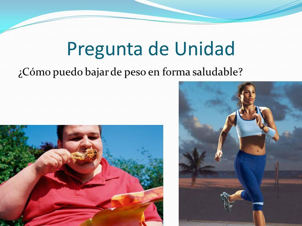 Pregunta de Unidad ¿Cómo puedo bajar de peso en forma saludable