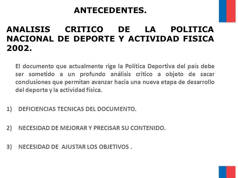 ANTECEDENTES. ANALISIS CRITICO DE LA POLITICA NACIONAL DE DEPORTE Y ACTIVIDAD FISICA 2002.