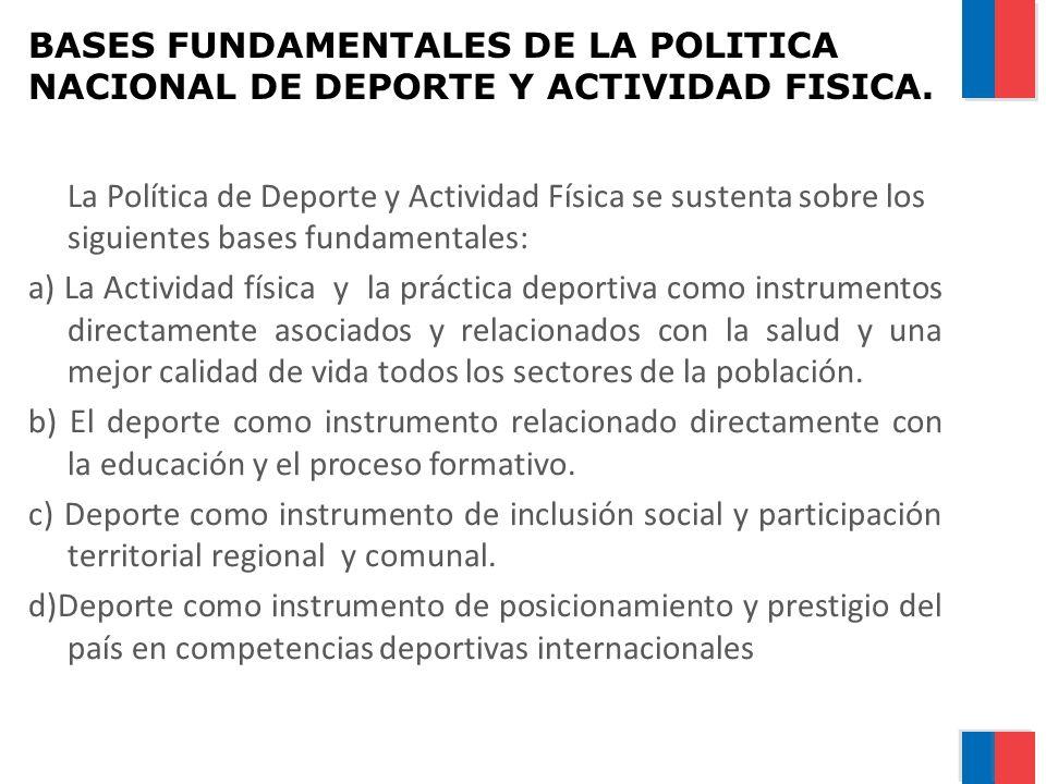 BASES FUNDAMENTALES DE LA POLITICA NACIONAL DE DEPORTE Y ACTIVIDAD FISICA.