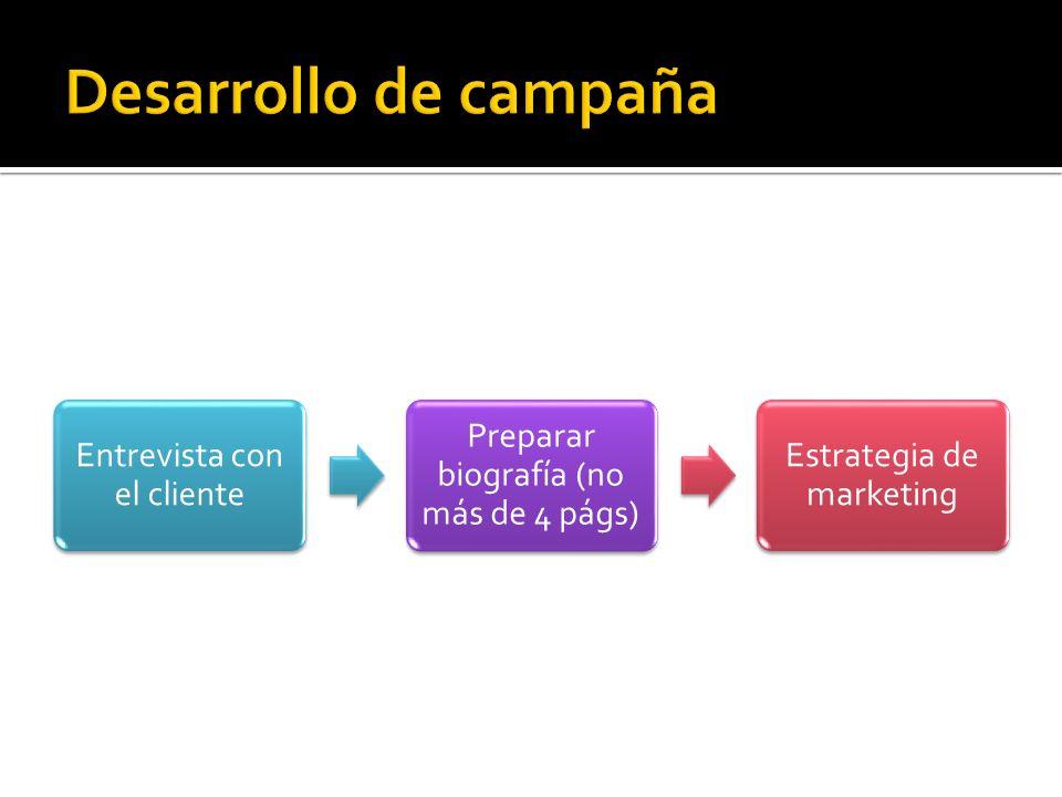 Desarrollo de campaña Entrevista con el cliente