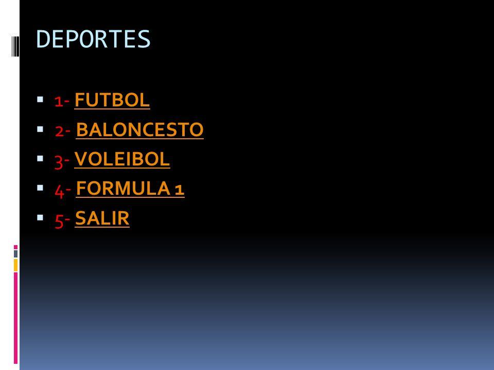 DEPORTES 1- FUTBOL 2- BALONCESTO 3- VOLEIBOL 4- FORMULA 1 5- SALIR