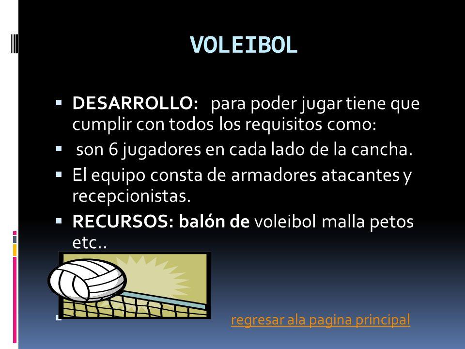 VOLEIBOL DESARROLLO: para poder jugar tiene que cumplir con todos los requisitos como: son 6 jugadores en cada lado de la cancha.