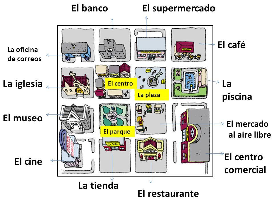 El banco El supermercado El café La iglesia La piscina El museo