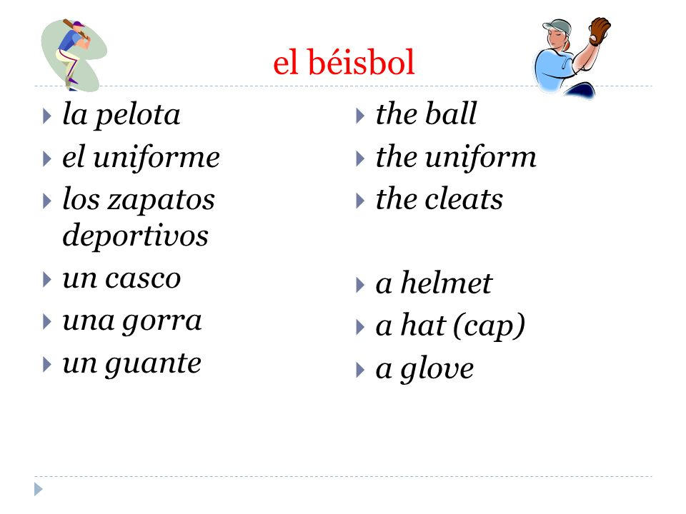 el béisbol la pelota. el uniforme. los zapatos deportivos. un casco. una gorra. un guante. the ball.