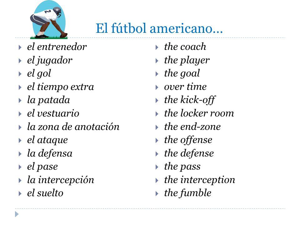 El fútbol americano… el entrenedor el jugador el gol el tiempo extra