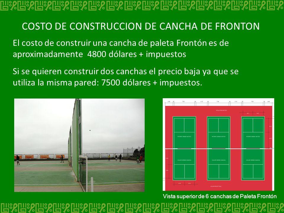 COSTO DE CONSTRUCCION DE CANCHA DE FRONTON