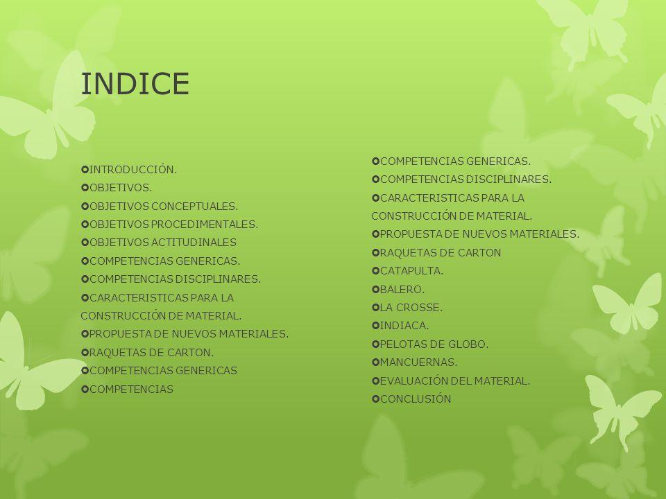INDICE COMPETENCIAS GENERICAS. INTRODUCCIÓN.