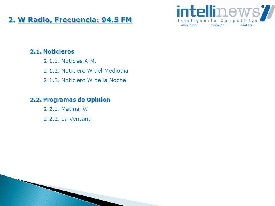 2. W Radio, Frecuencia: 94.5 FM 2.1. Noticieros 2.1.1. Noticias A.M.