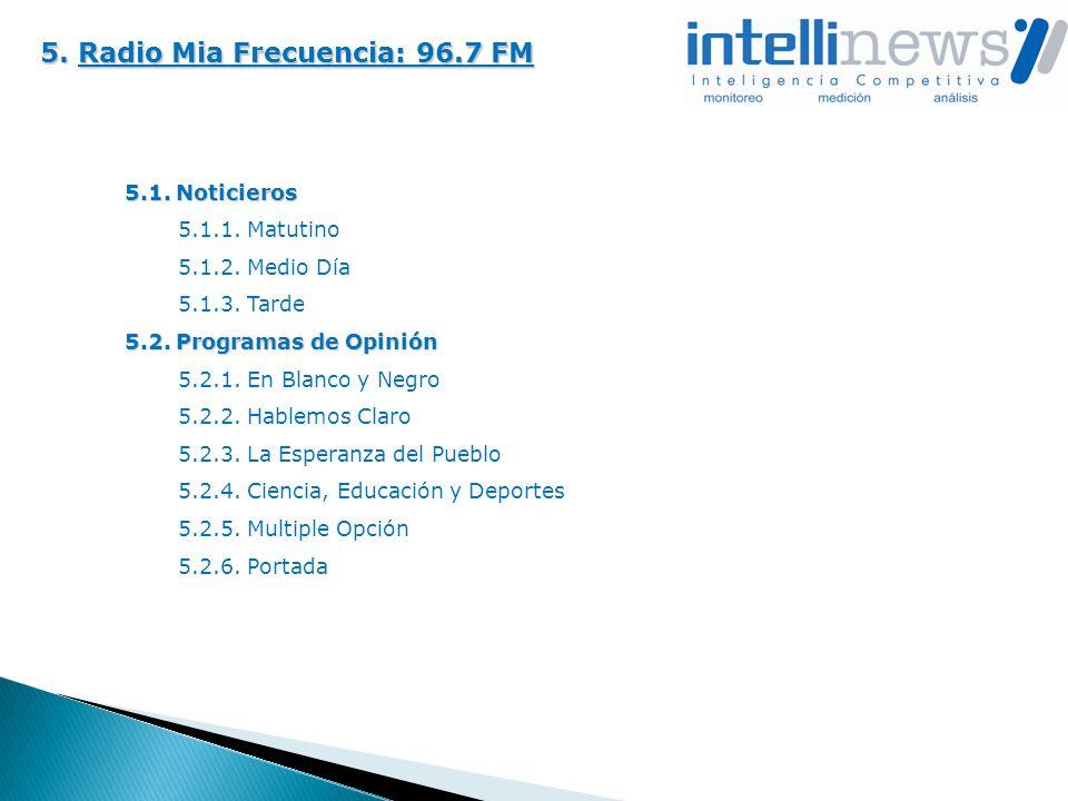 5. Radio Mia Frecuencia: 96.7 FM