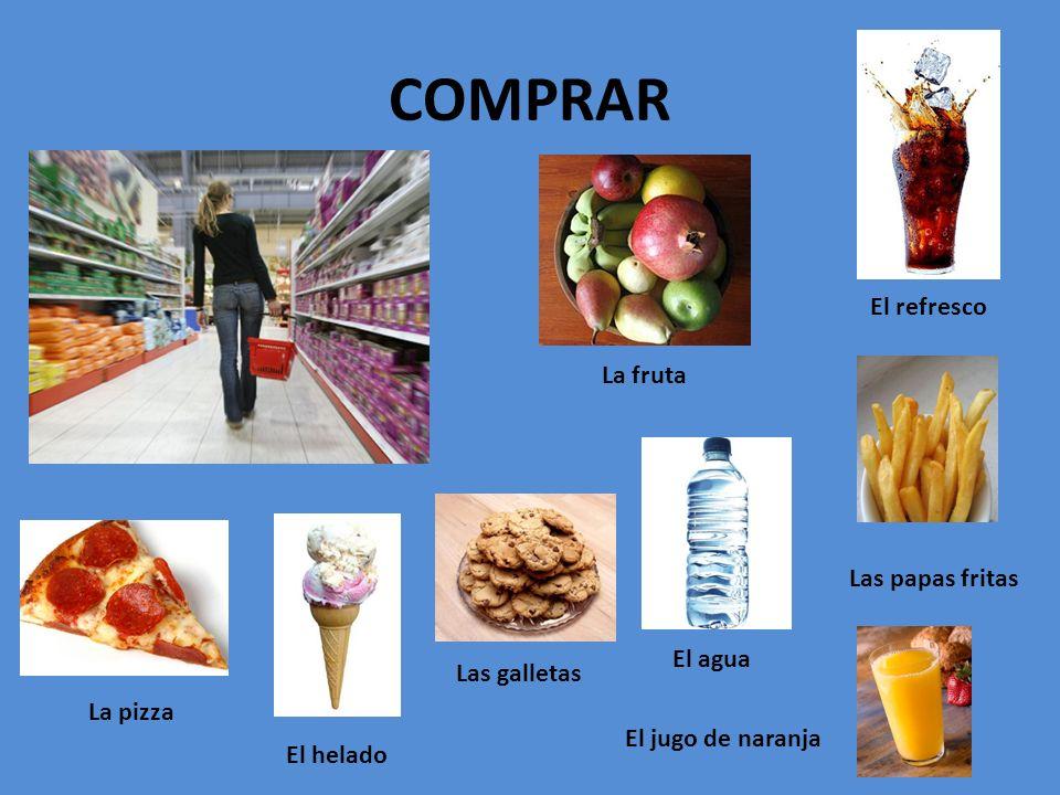 COMPRAR El refresco La fruta Las papas fritas El agua Las galletas