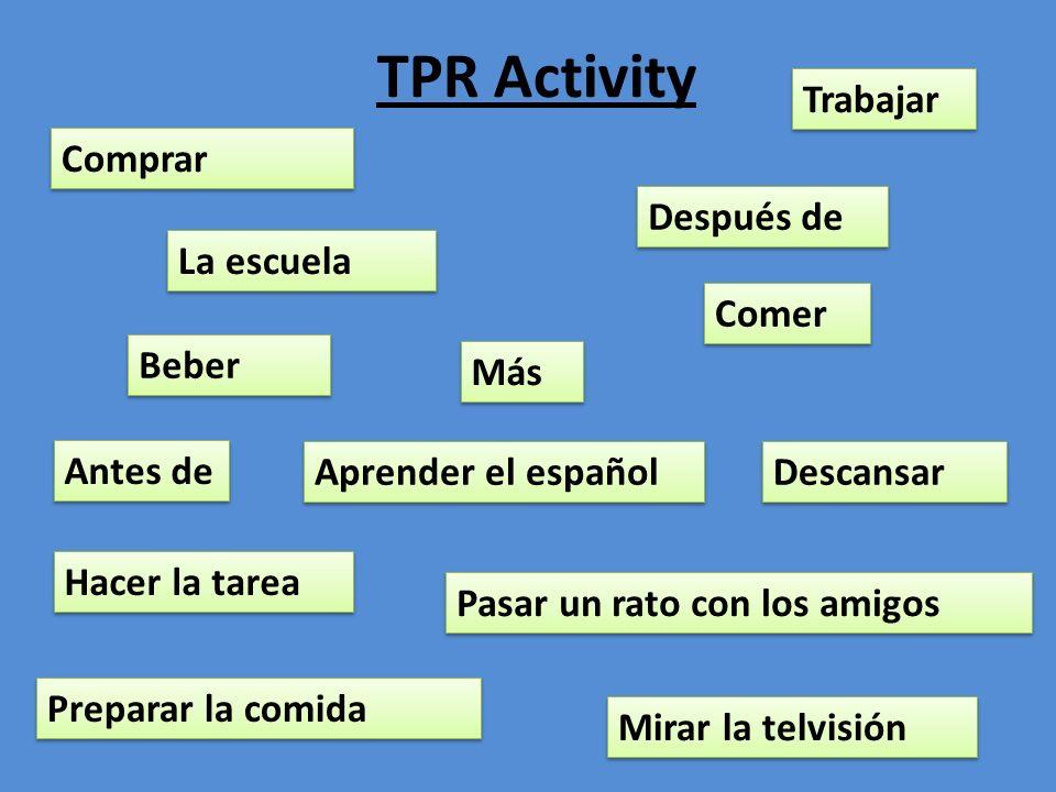 TPR Activity Trabajar Comprar Después de La escuela Comer Beber Más