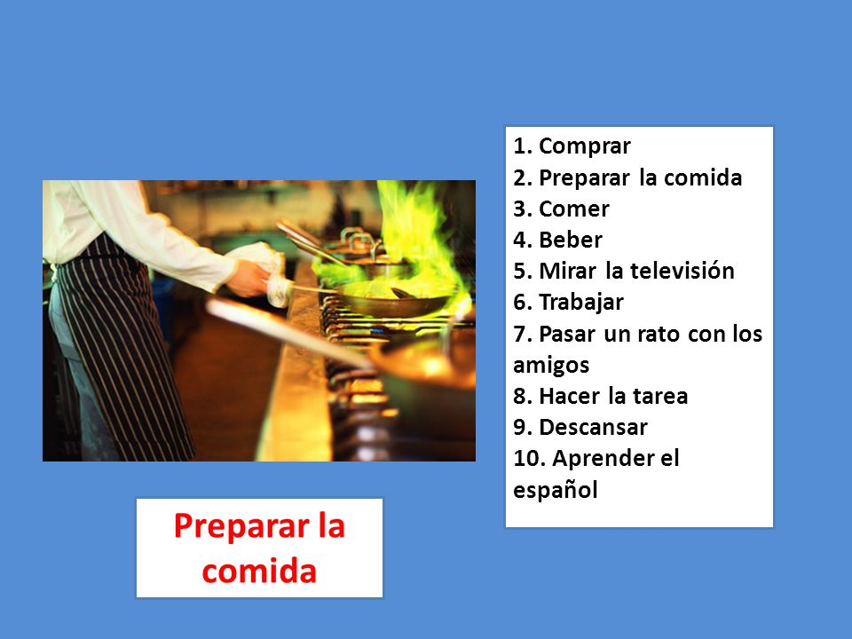 1. Comprar 2. Preparar la comida 3. Comer 4. Beber 5
