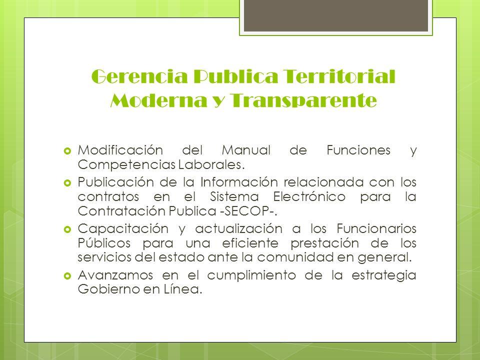 Gerencia Publica Territorial Moderna y Transparente