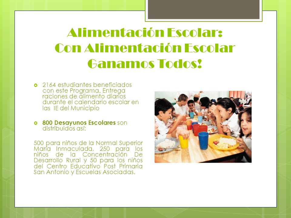 Alimentación Escolar: Con Alimentación Escolar Ganamos Todos!