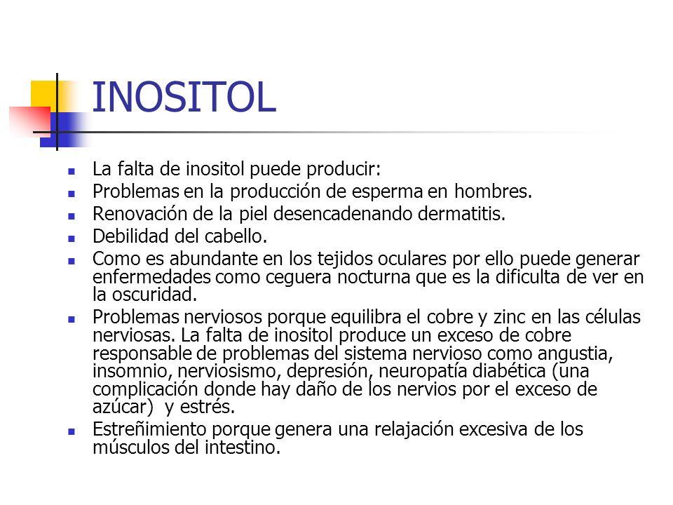 INOSITOL La falta de inositol puede producir: