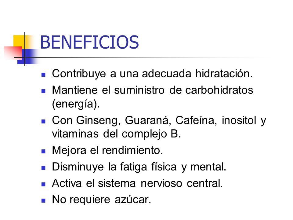 BENEFICIOS Contribuye a una adecuada hidratación.