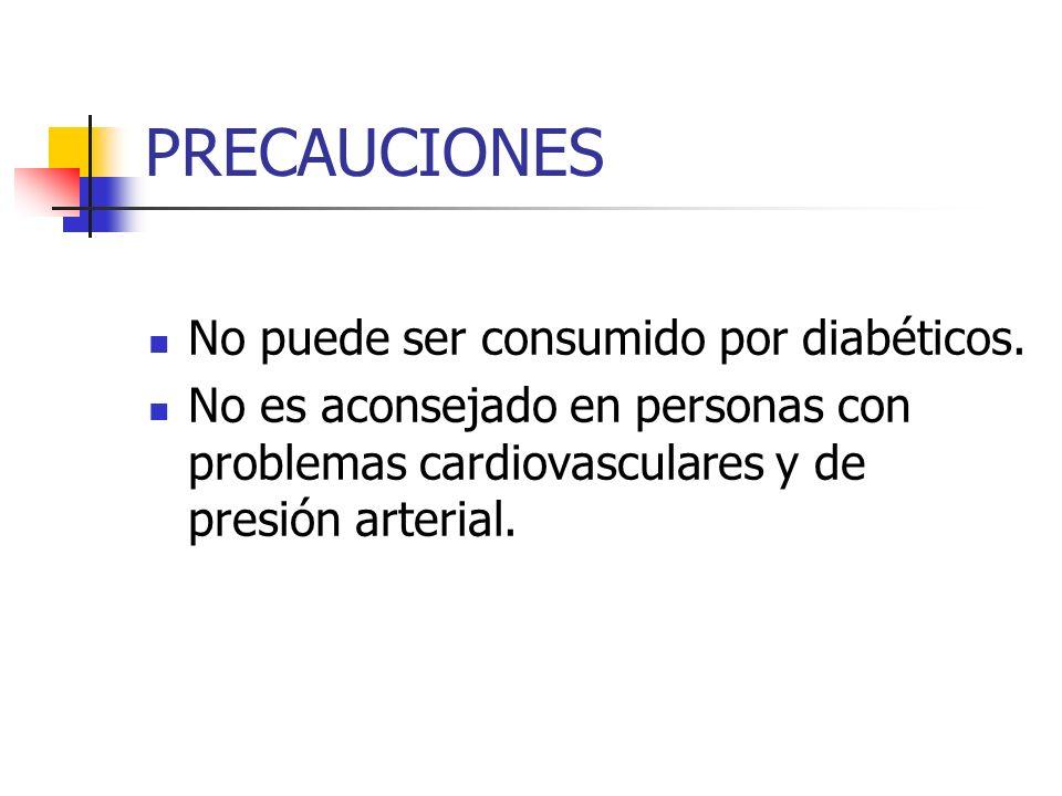PRECAUCIONES No puede ser consumido por diabéticos.