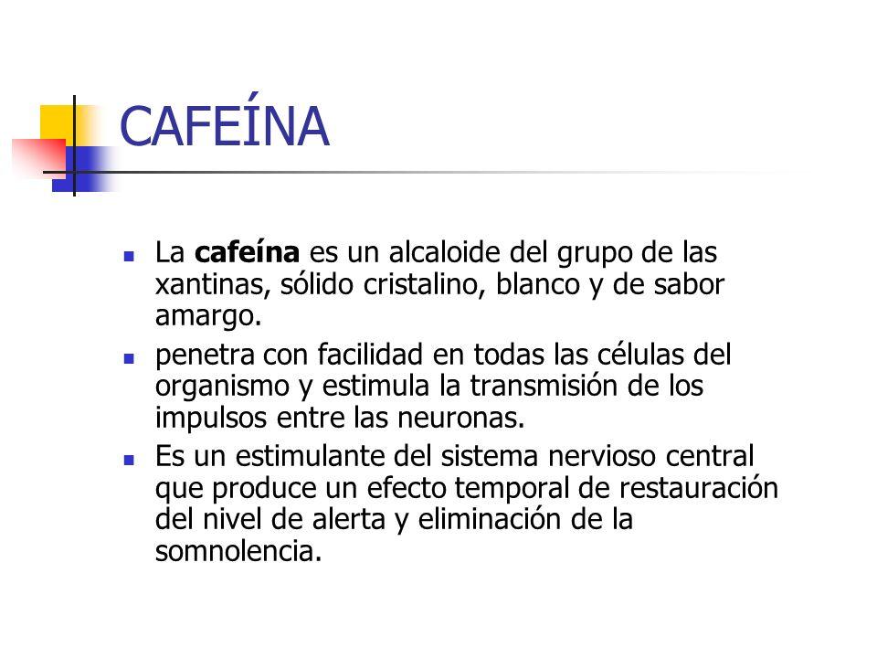 CAFEÍNA La cafeína es un alcaloide del grupo de las xantinas, sólido cristalino, blanco y de sabor amargo.