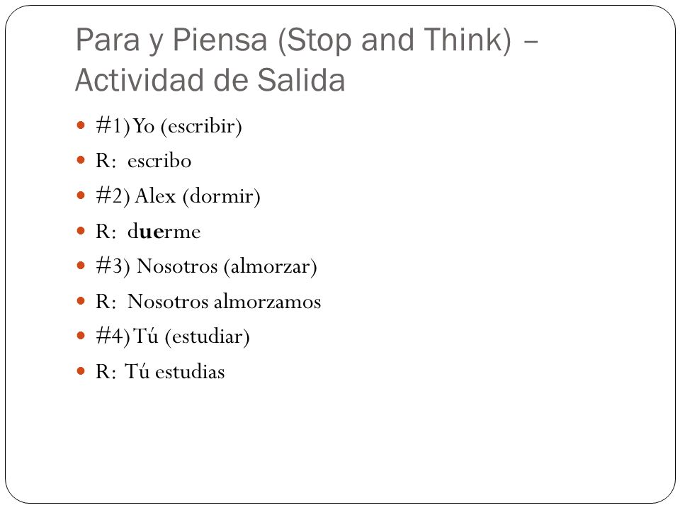 Para y Piensa (Stop and Think) – Actividad de Salida