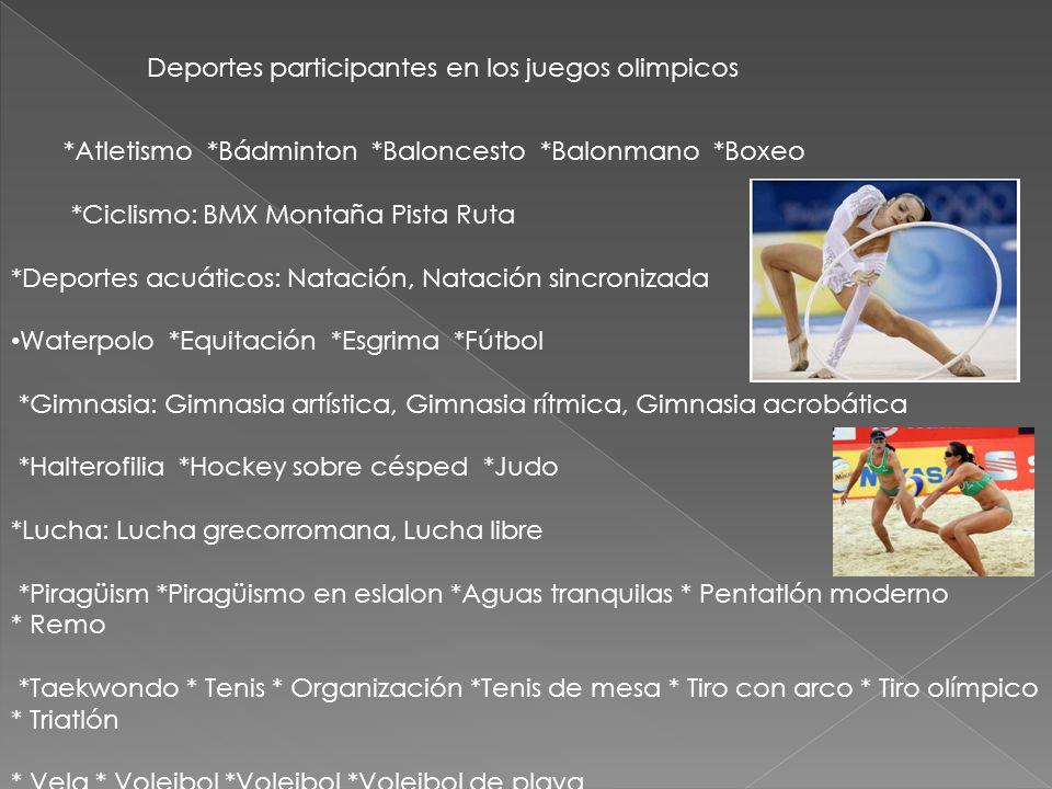 Deportes participantes en los juegos olimpicos