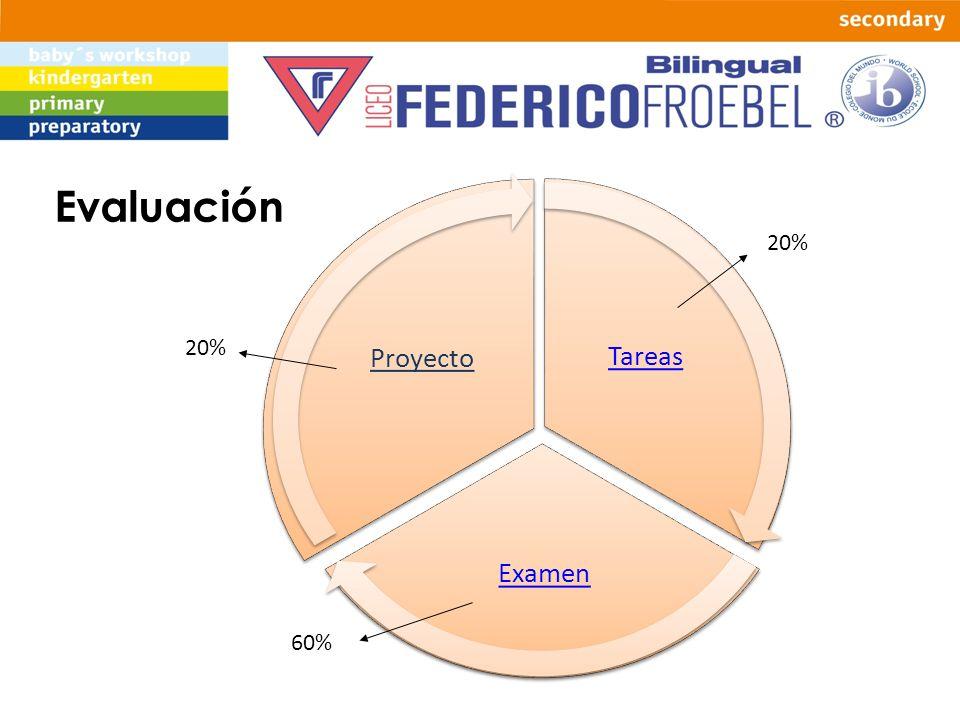 Evaluación Tareas Examen Proyecto 20% 20% 60%